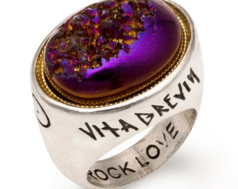 Astra Petas Druzy Ring - Purple