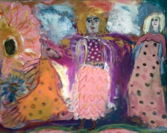 "Original Painting, ""Winged Friends"""