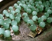 JADEITE necklace long chain beaded glass flapper