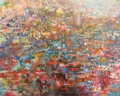 FINE ART Impasto Palette Knife Painting,  Stained Glass Daydreams -  Kennedy Acrylic Abstract Original on Canvas Panel - Impasto