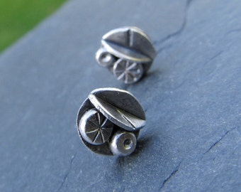 Silver Post Earrings Leaf Sterling Stud Button Funky stamped Leaves
