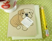 Custom Birthday Boris the English Bulldog  Calendar Note Card with Envelope