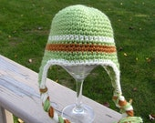 Baby Earflap Hat  Hand Crochet in Green, Cream and Brown Size 6-9 months Ready to Ship On Sale
