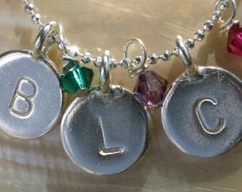 Personalized,Custom Hand Stamped- Add a 3/8 Inch Sterling Silver Initial Charm