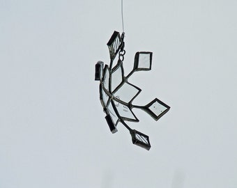 Curvy Glass Snowflake, Unique Wedding Gift, Anniversary Gift, from Recycled Bottle Glass