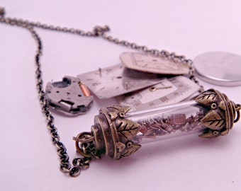 Time in a Bottle Glass Vial Watch Part Brass Necklace with 18 Inch Brass Chain