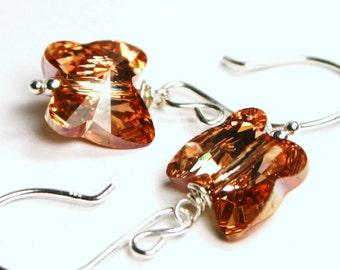 Rosaline Gold Buterfly Earrings ... Swarovski Metallic Golden Rose Moth Flame & Sterling Silver ... Petite RARE Monarch - Gifts Under 25