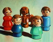 SALE Custom Fisher Price Little People Family Portrait 8x10 Acrylic Painting Up to 5 Figures 100 Dollars
