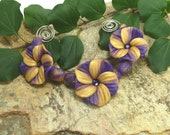Flower Bead Set  - Sunrise  Purple and Gold