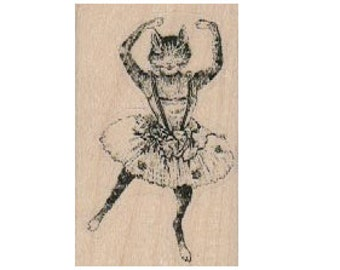 Cat Ballerina rubber stamp, wood mounted art and craft supplies   tateam  Item 18539