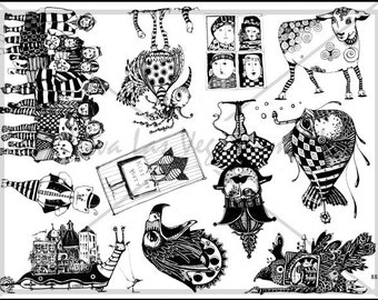 Mary Vogel Lozinak unmounted plate steampunk industrial fantasy   Rubber Stamp  tateam EUC team   no.883