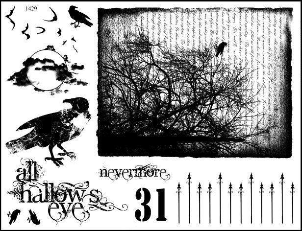 Unmounted Rubber Stamp Plate Black Birdravengoth Halloween