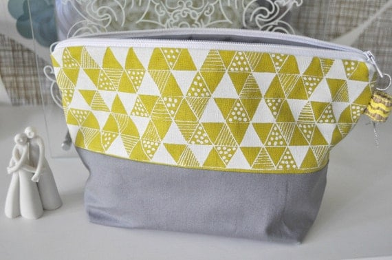 Mustard Triangle Mania Make Up Pouch