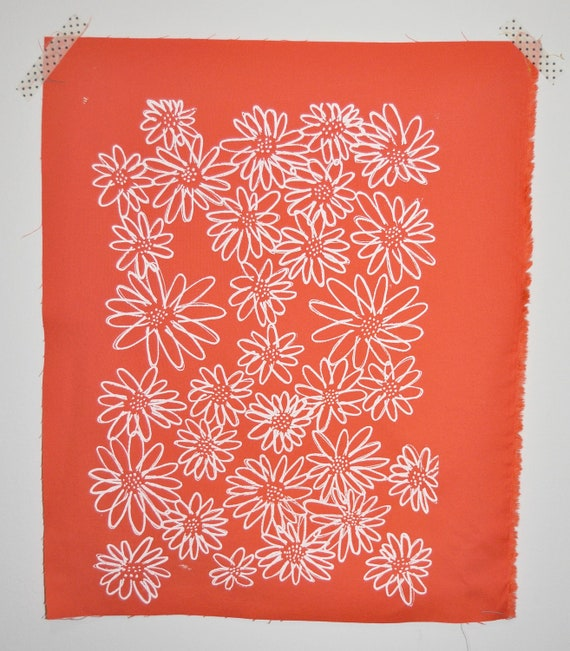 White on Coral Scruffy Daisy screen printed fabric