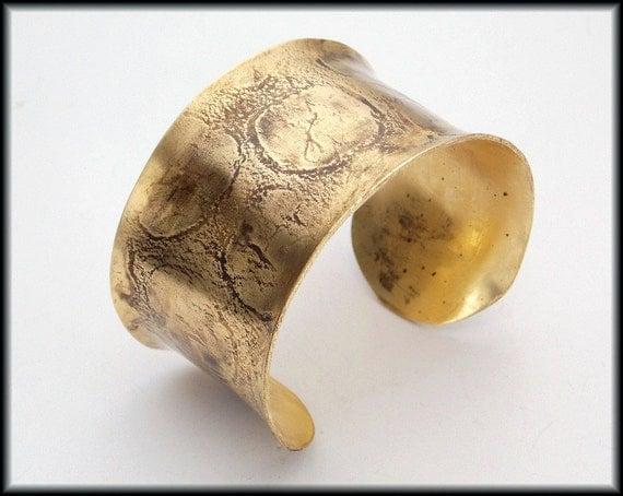 ANTIQUED BRONZE - Handforged Textured Antiqued Concave Bronze Cuff Bracelet