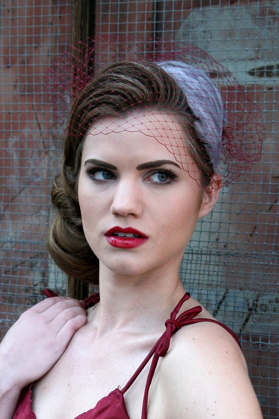 Bridal Birdcage Veil Bandeau Style - Burgundy - Free Feather Fascinator with Purchase