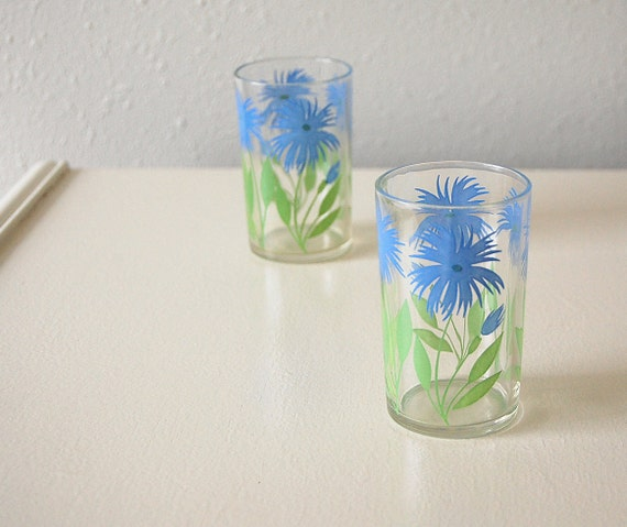 Pair of Juice Glasses . Green Blue Aster Flowers