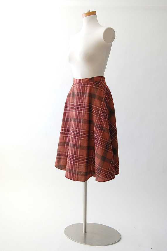 Midi Skirt / Plaid Wool Skirt / High Waist s m