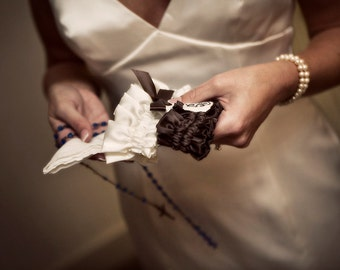 Wedding Garter Set with Monogram