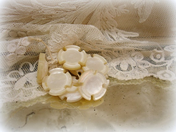 carved antique mother of pearl buttons . set of 8 unUsual shank buttons