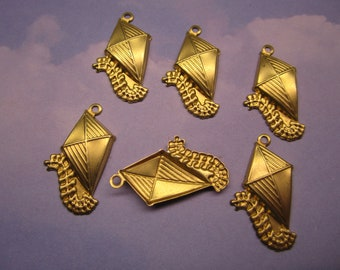 Kite Charms Kids Toy Brass Supplies on Etsy USA Made x 6