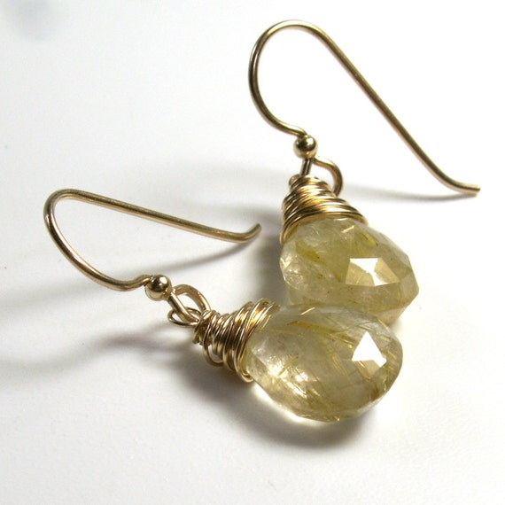 Golden Rutilated Quartz Earrings . Gemstone Drop Earrings . Gold Jewelry