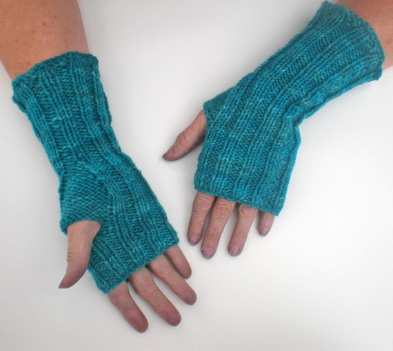 Knit Pattern Gloves Sock Yarn : PATTERN ribbed fingerless mitts gloves knit in worsted by wildhare