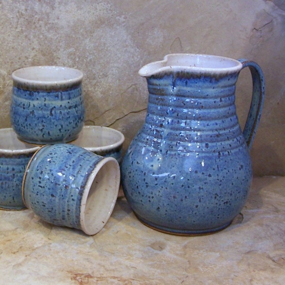 Rutile Blue Handmade Stoneware Ceramic Pottery Pitcher and Tumbler Set