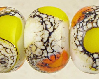 Candy Corn Lampwork Glass Bead Spacer Set of 6 with Organic Silvered Ivory Web Small 11x7mm