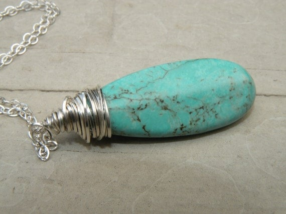 Necklace - Turquoise colored howlite wire wrapped pendant on sterling silver chain - extra long length- fall fashion - one of a kind