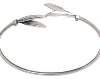 Olive Leaf - Sterling Silver Cuff Bracelet