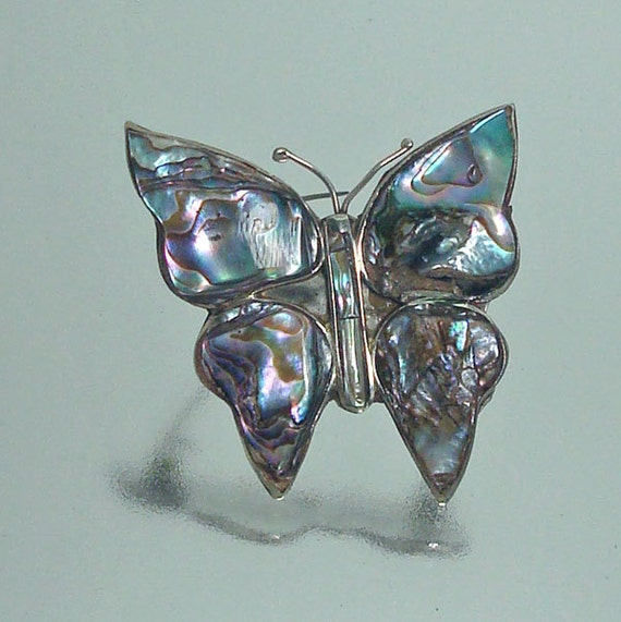 Mexico Abalone Silver Butterfly PinVintage