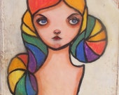 Mixed Media Painting Original... Rainbow Girl
