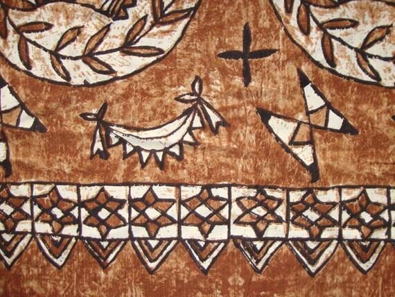 Vintage Tribal Print Hawaiian Cotton Barkcloth Fabric Terra Cotta Ivory & Black