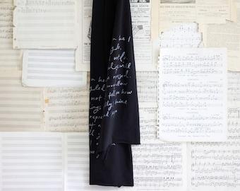SUMMER SALE - Mr. Darcy Proposal scarf.  black and silver.  Jane Austen