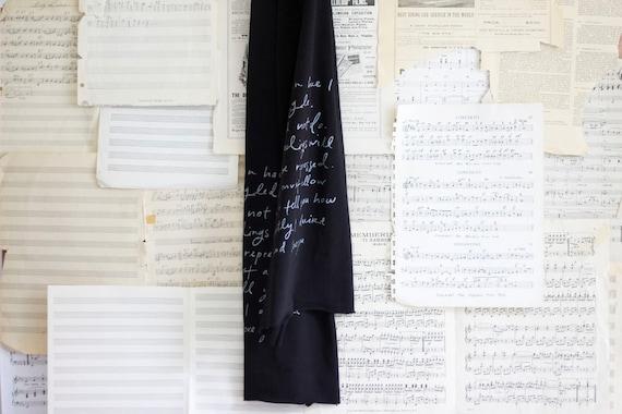 LAST ONE until 2017 - Mr. Darcy Proposal scarf.  black and silver.  Jane Austen