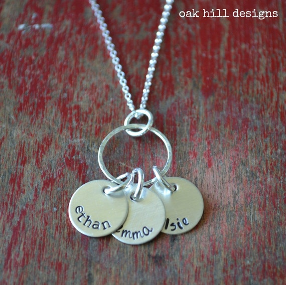 hand stamped necklace-sterling silver custom personalized jewelry-full circle