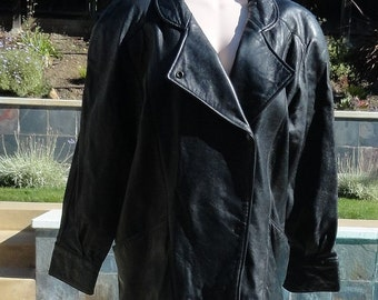 SALE - Vintage 80s Michael Hoban North Beach Leather Black Leather Jacket B44
