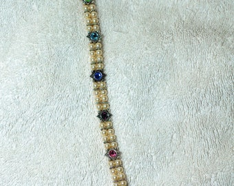 Glass Pearl and Colored Glass Bracelet
