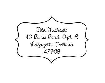 ella frame rubber address stamp