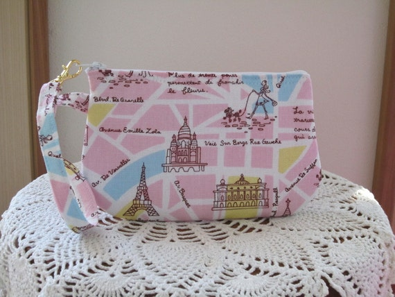 Wristlet Zipper Gadget Pouch Smart Phone Bag in The Streets of Paris in Pink