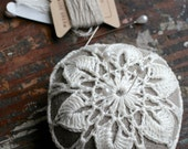 Linen  pincushion - crochet motif -- white