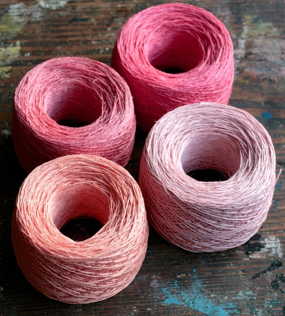 Linen yarn thread -- four balls -- red, pink