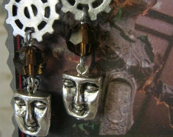 Steampunk Crystal Glass Silver Face Earrings