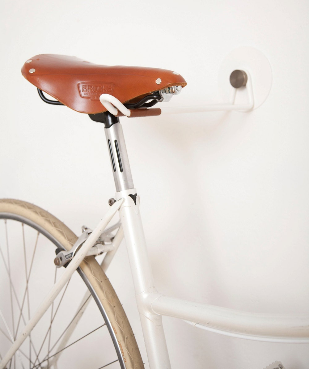 Bike Hooks White Vintage Skin Brass