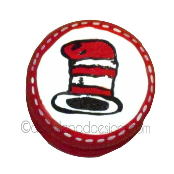 Cat in the Hat inspired British Drawer knob - choice of size and quantity
