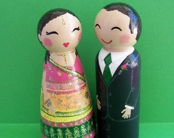Hand Painted Love Boxes Custom Wedding Indian South Asian Bride Groom Cake Topper Peg Dolls Wood