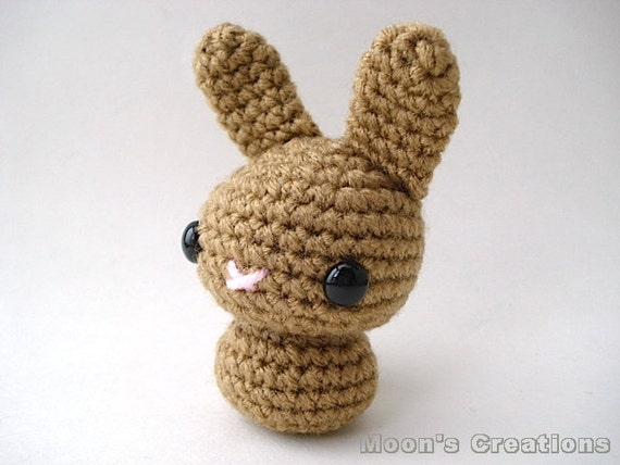 Amigurumi Doll Hair Bun : Caramel Brown Moon Bun Amigurumi Bunny Rabbit by ...