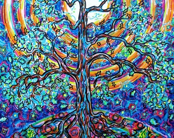 Art Print, Oak, Tree, Psychedelic, Woods, Nature, Moon, Rainbow, Moonbow, Super Moon, Colorful, Energy, Night, Luna, Wall Art, Eco-Friendly
