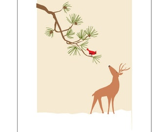 Greeting Cards Deer and Cardinal  white pine branch pale tan
